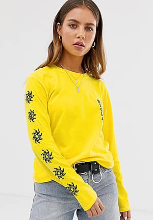 inspired long sleeve t-shirt in yellow with sun sleeve print