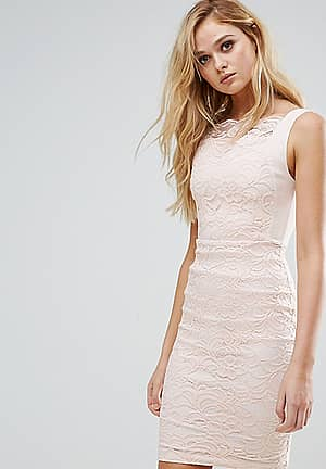 Lace Pencil Dress with Scallop Lace Bodice