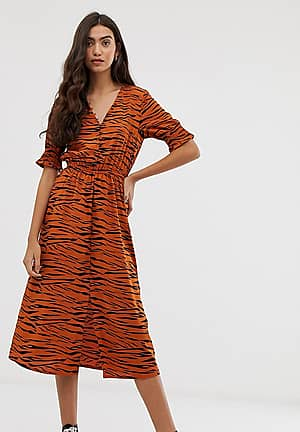 shirred sleeve midi dress with button down front in tiger print
