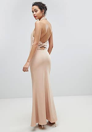 High Neck Ruched Open Back Maxi Dress