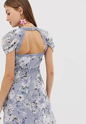 floral mini dress with laddering detail