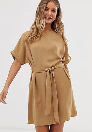belted tunic in camel