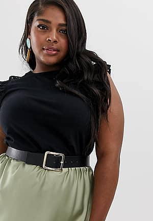top with frill sleeves in black