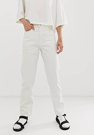 recycled edition straight leg jeans in off white
