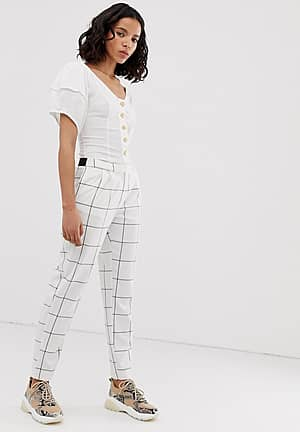 grid check tapered trouser