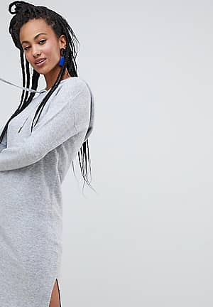 knitted dress with hood in grey