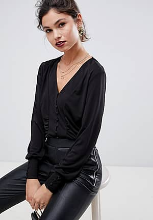 Button Through V Neck Top