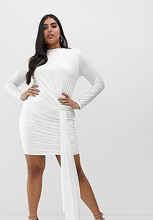 slinky tie side ruched mini bodycon dress in white