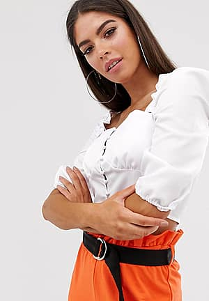 milkmaid square neck blouse in white