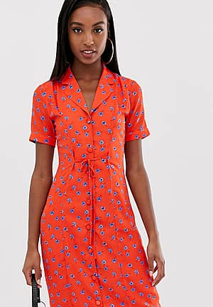 fitted midi shirt dress in floral