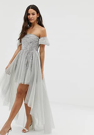 off shoulder mini embellished prom dress with train detail in grey
