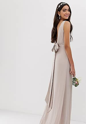 bridesmaid exclusive sateen bow back maxi in pink