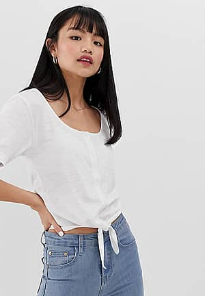 tie front crop t shirt with button front