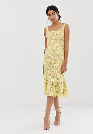 square neck all over lace embroidered midi dress in yellow