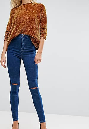 RIVINGTON High Waist Denim Jeggings in Hazel Soft Acid Wash with Two Ripped Knees