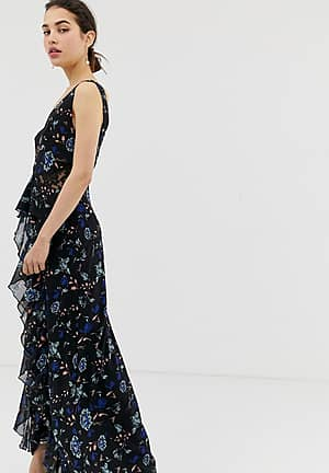 floral lace plunge front maxi dress in black multi