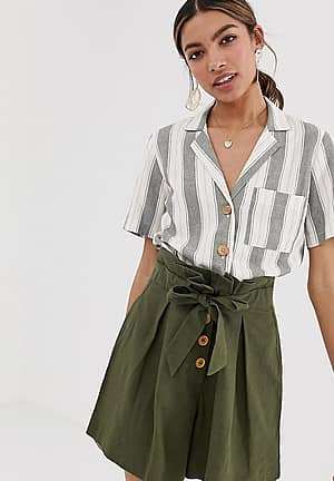 linen boxy shirt with pocket in stripe