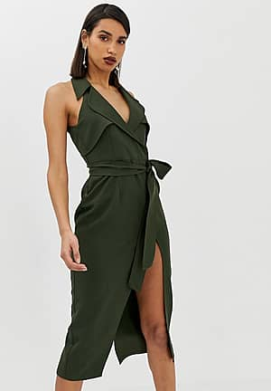 midi belted trench dress in soft crepe