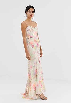 all over printed maxi dress with train in floral