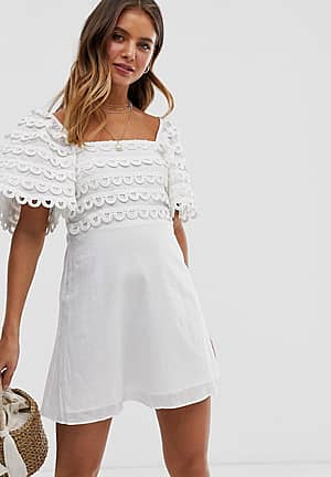 Let Me Be scalloped lace puff sleeve dress