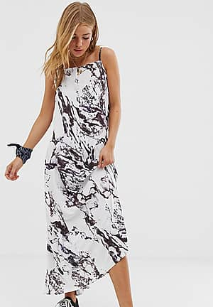 backless maxi dress in marble print