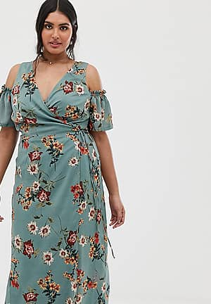 cold shoulder midi dress with tie waist in teal floral