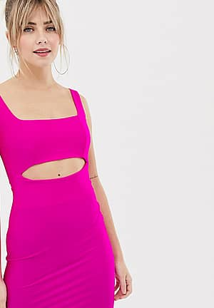 cut out dress in neon pink