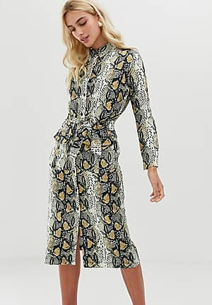 snake print shirt midi dress with belt detail