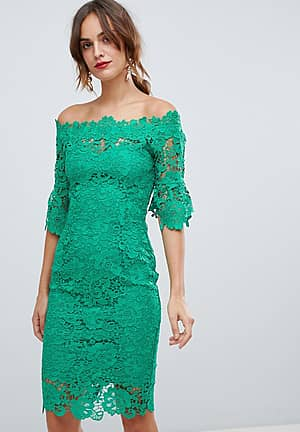 off shoulder crochet midi dress with frill sleeve in emerald green