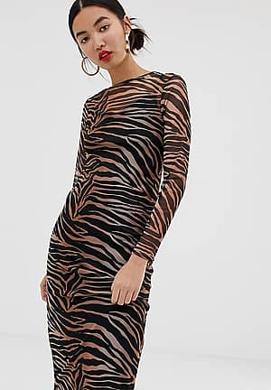 midi dress with mesh in tiger print