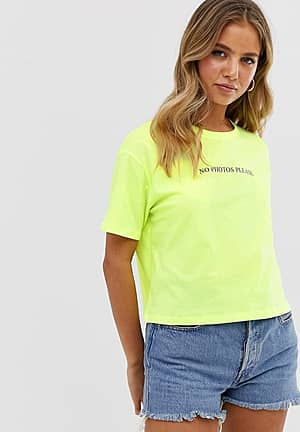 no photos boxy slogan crop tee in neon green