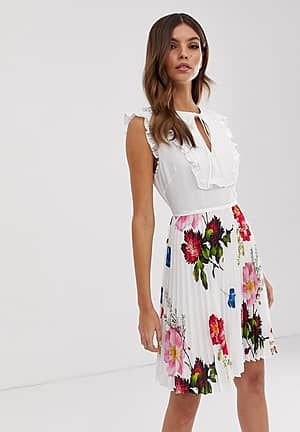 Rommanna tie neck dress