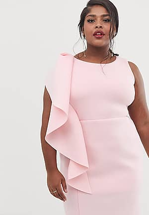 exclusive one shoulder frill wrap dress in blush