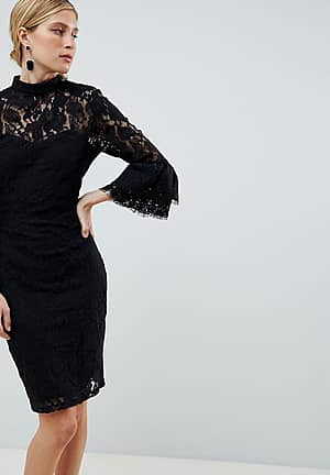 lace flute sleeve dress