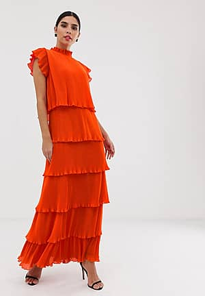 pleated tiered maxi dress