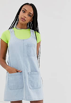 inspired denim mini pini dress