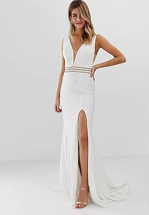 fitted maxi dress with rhinestone belt