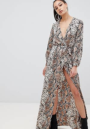 exclusive tall maxi wrap dress with side splits in snake