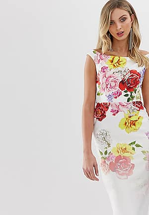 exclusive off shoulder bodycon dress in faded floral print