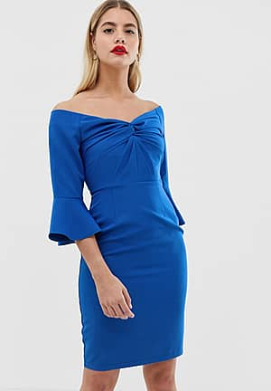 sweetheart midi bodycon dress with knot front in cobalt
