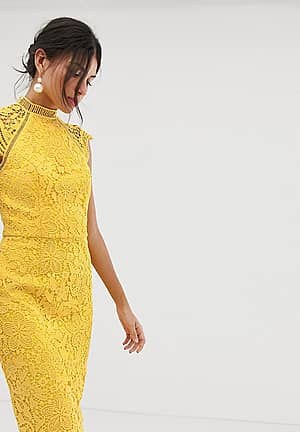 scallop lace pencil dress in yellow