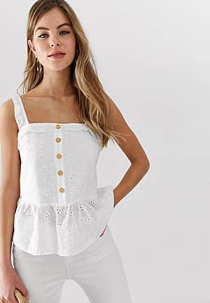 button down cami top with peplum hem in broderie