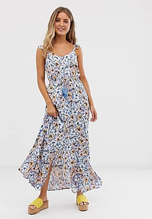 frill strap maxi dress in blue floral