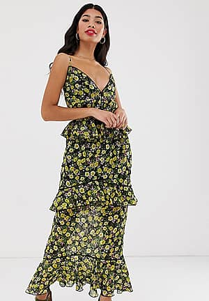 cami strap midi chiffon dress in yellow floral