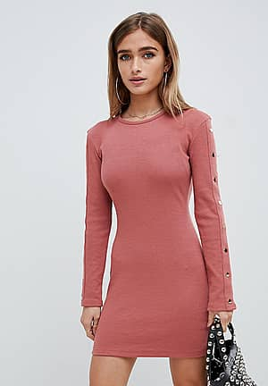 ribbed popper sleeve mini dress in pink
