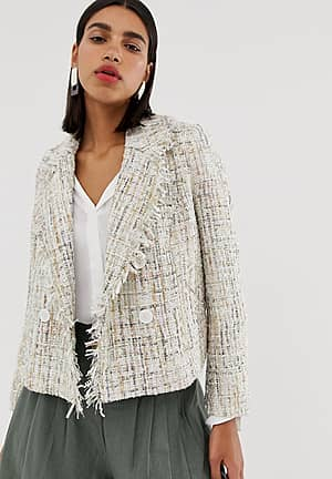 double breasted boucle jacket