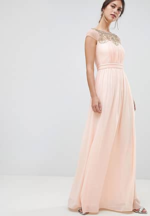 Pleated Maxi Dress With Embellished Detail