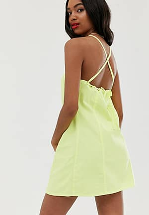 denim sundress with tie back in washed neon lime