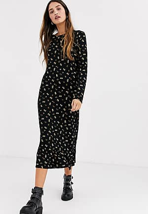 midaxi smock dress in ditsy floral