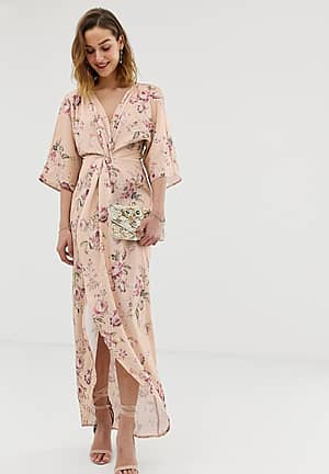 knot front maxi dress with in multi floral